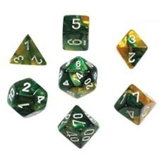 Dice Set Gemi Poly Gold Green White(7)