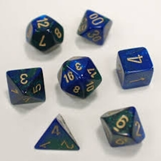 Dice Set Gemi Poly Blue Green Gold(7)