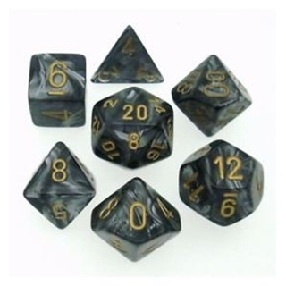 Black Gold Lustrous Polyhedral 7Dice Set