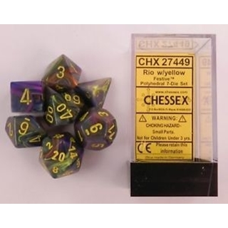 Rio Yellow Festive Polyhedral 7 dice Set
