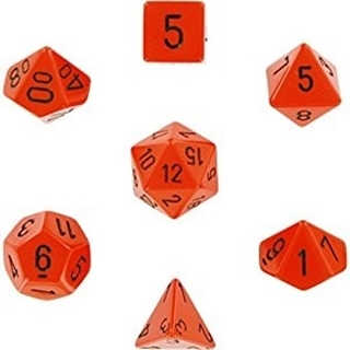 Orange With Black Opaque Polyhedral 7 Dice Set
