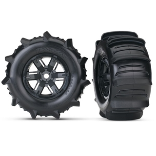 Tires & wheels, assembled, glued paddle (X-Maxx black