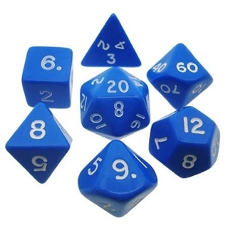 Blue White Opaque Polyhedral 7 Dice Set