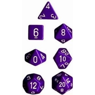 Purple White Opaque Polyhedral 7 Dice Set