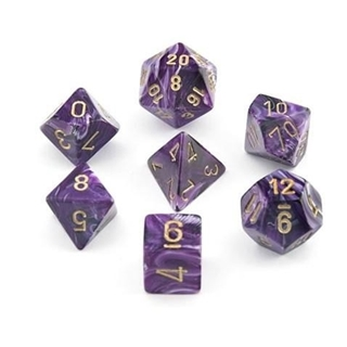 Dice Set Vortex Poly Purple-Gold (7)