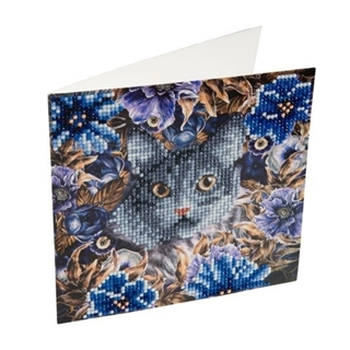 Crystal Card Kit ® Diamond Painting Cat and Flower