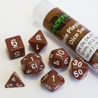 16mm Role Playing Dice Set - Brown (7 Dice)
