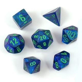 Dark Blue W/Green Lustrous Polyhedral7 Die Set
