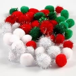 Pompoms, d: 15+20 mm, groen, wit, rood, 48div