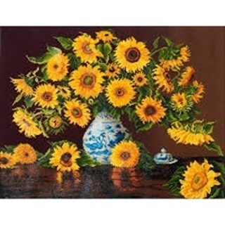 Sunflowers in a china vase  71x56cm