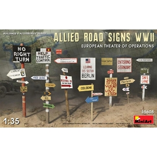 Allies Road Signs WWII. European Theater of Operat