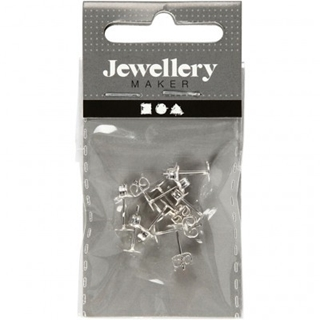 Stud Earings 13 mm Silver Plated 10pcs