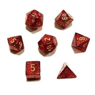 Dice Set Polyhedral Glitter Ruby/Gold D6 (7)