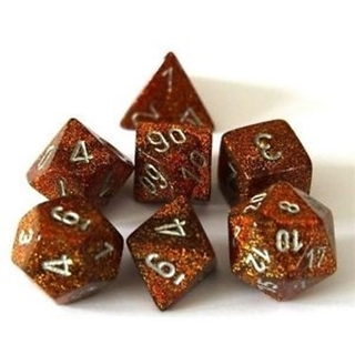 Dice Set Polyhedral Glitter Gold/Silver D6 (7)
