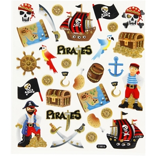 Fancy glitter stickers, vel 15x16,5 cm, piraten, 1