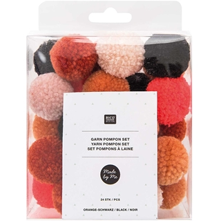 YARN POMPON ORANGE-BLACK