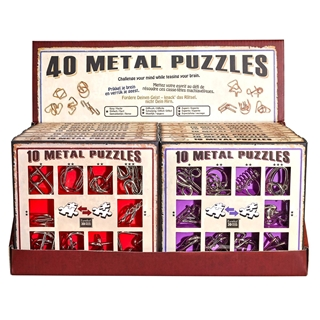 Display with 16 Metal Puzzles Sets (10 Metal Puzzl