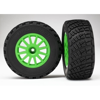 Tires & Wheels, Assembled, Glued (Green Wheels, Bf