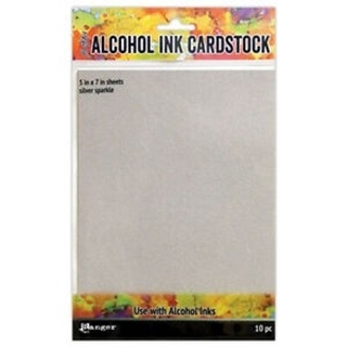 Alcohol ink cardstock silver